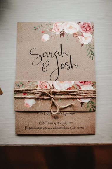 Craft Paper Wedding Invitation | Blush, Rustic Luxe Wedding at Ever After, Dartmoor | Dan Ward Photography | CupcakeVideos