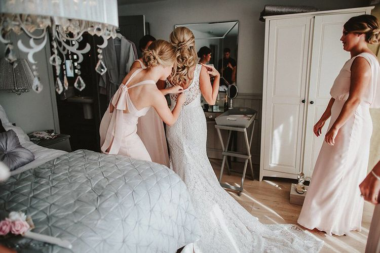 Wedding Morning Bridal Preparations | Bride in Lace Mikaella Bridal Gown | Bridesmaids in Blush Pink Maids to Measure Dresses | Blush, Rustic Luxe Wedding at Ever After, Dartmoor | Dan Ward Photography | CupcakeVideos