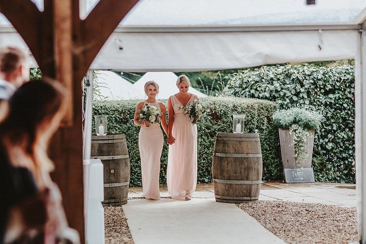 Wedding Ceremony | Bridesmaids in Blush Pink Maids to Measure Dresses | Blush, Rustic Luxe Wedding at Ever After, Dartmoor | Dan Ward Photography | CupcakeVideos
