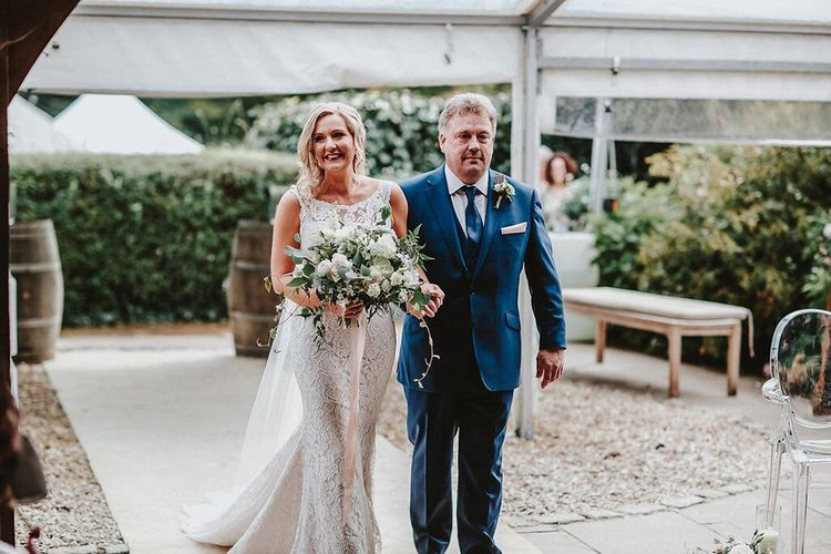Wedding Ceremony | Bridal Entrance in Lace Mikaella Bridal Gown | Blush, Rustic Luxe Wedding at Ever After, Dartmoor | Dan Ward Photography | CupcakeVideos