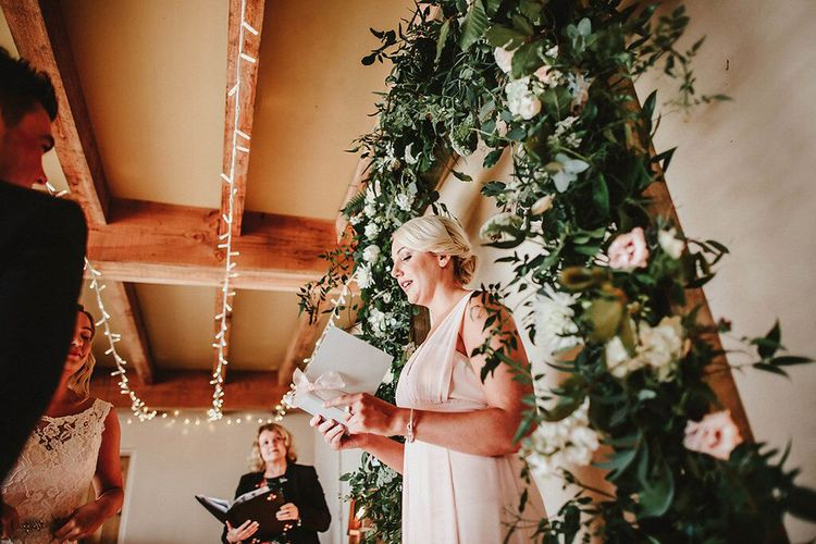 Wedding Ceremony Reading | Bridesmaid in Blush Pink Maids to Measure Dress | Blush, Rustic Luxe Wedding at Ever After, Dartmoor | Dan Ward Photography | CupcakeVideos