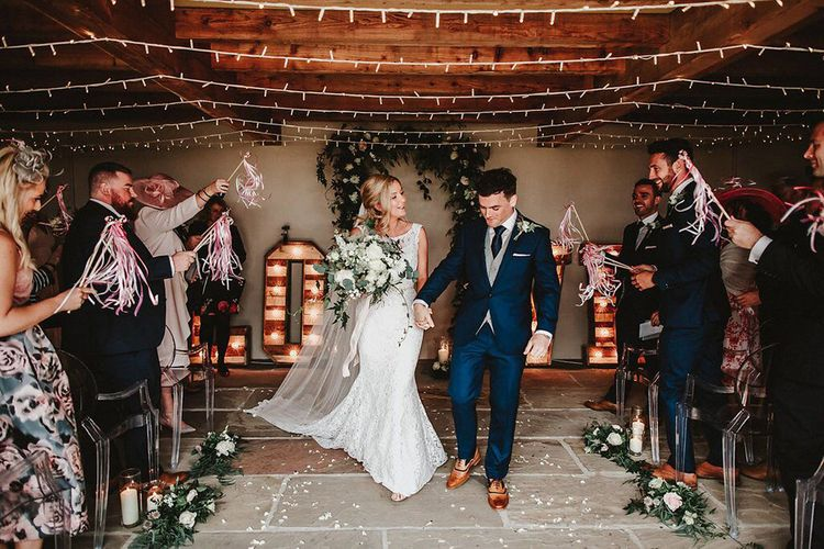 Wedding Ceremony | Bride in Lace Mikaella Bridal Gown | Groom in Navy Remus Uomo Suit & Grey Waistcoat | Blush, Rustic Luxe Wedding at Ever After, Dartmoor | Dan Ward Photography | CupcakeVideos