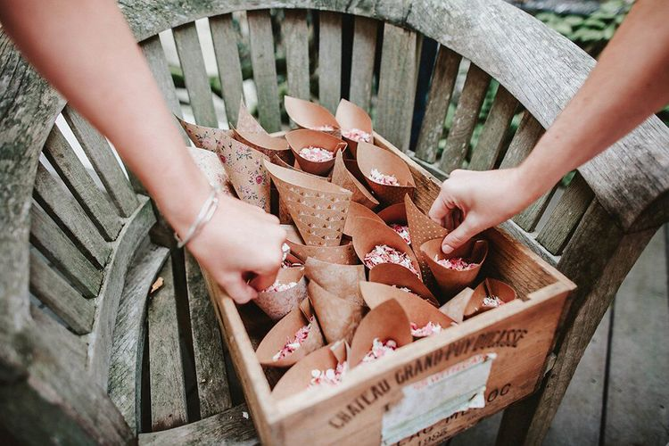Craft Paper Confetti Cones | Blush, Rustic Luxe Wedding at Ever After, Dartmoor | Dan Ward Photography | CupcakeVideos
