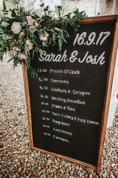 Chalkboard Order of the Day Wedding Sign | Blush, Rustic Luxe Wedding at Ever After, Dartmoor | Dan Ward Photography | CupcakeVideos