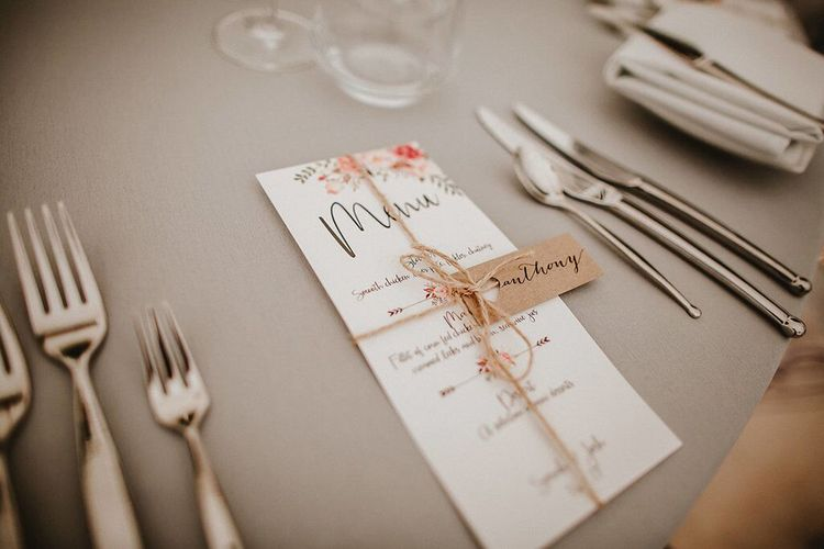 Menu Wedding Stationery | Blush, Rustic Luxe Wedding at Ever After, Dartmoor | Dan Ward Photography | CupcakeVideos