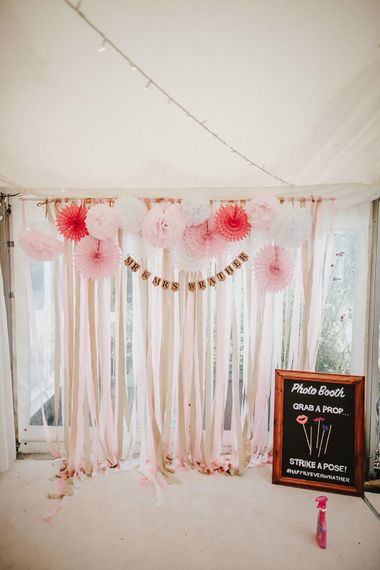Photo Booth Backdrop | Blush, Rustic Luxe Wedding at Ever After, Dartmoor | Dan Ward Photography | CupcakeVideos