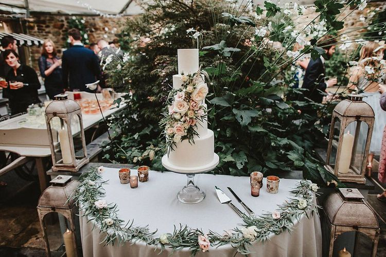 Edible Essence Wedding Cake Table with Floral Decor | Blush, Rustic Luxe Wedding at Ever After, Dartmoor | Dan Ward Photography | CupcakeVideos