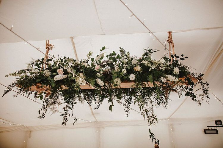 Hanging Floral Installation | Blush, Rustic Luxe Wedding at Ever After, Dartmoor | Dan Ward Photography | CupcakeVideos