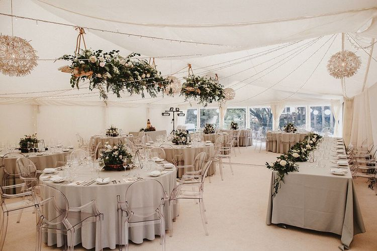 Marquee Reception with Hanging Floral Installation, Grey Table Cloths & Ghost Chairs | Blush, Rustic Luxe Wedding at Ever After, Dartmoor | Dan Ward Photography | CupcakeVideos