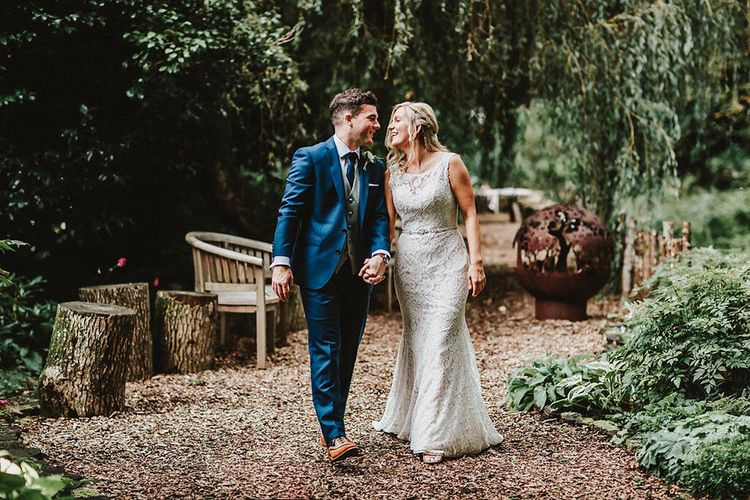 Bride in Lace Mikaella Bridal Gown | Groom in Navy Remus Uomo Suit & Grey Waistcoat | Blush, Rustic Luxe Wedding at Ever After, Dartmoor | Dan Ward Photography | CupcakeVideos
