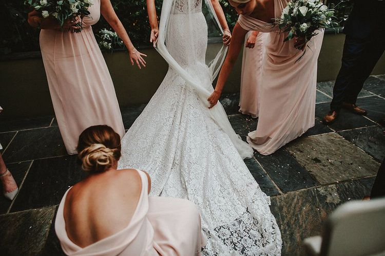 Bride in Lace Mikaella Bridal Gown | Bridesmaids in Blush Pink Maids to Measure Dresses | Blush, Rustic Luxe Wedding at Ever After, Dartmoor | Dan Ward Photography | CupcakeVideos