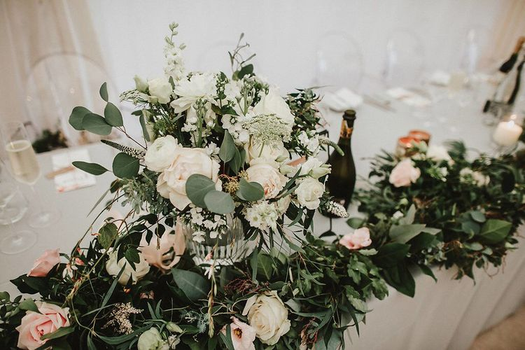 White, Blush & Green Floral Centrepiece | Blush, Rustic Luxe Wedding at Ever After, Dartmoor | Dan Ward Photography | CupcakeVideos