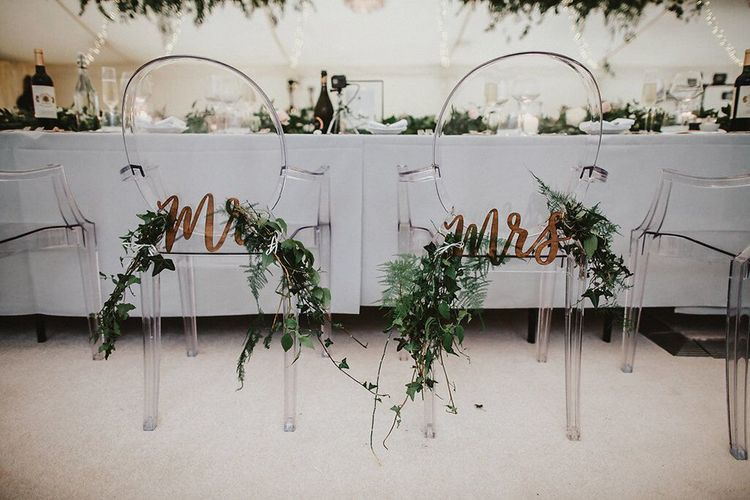 Ghost Chair Back Floral Mrs & Mrs Decor | Blush, Rustic Luxe Wedding at Ever After, Dartmoor | Dan Ward Photography | CupcakeVideos