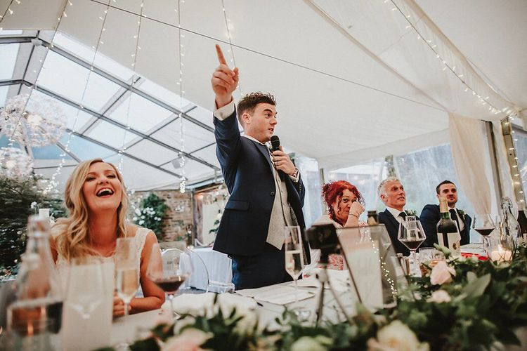 Reception Speeches | Bride in Lace Mikaella Bridal Gown | Groom in Navy Remus Uomo Suit & Grey Waistcoat | Blush, Rustic Luxe Wedding at Ever After, Dartmoor | Dan Ward Photography | CupcakeVideos