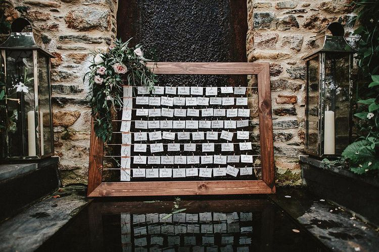 Wooden Frame & String Table Plan | Blush, Rustic Luxe Wedding at Ever After, Dartmoor | Dan Ward Photography | CupcakeVideos