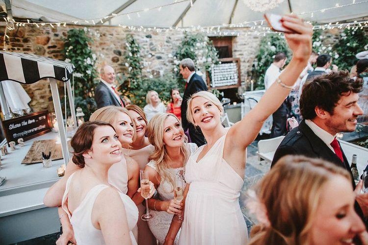 Selfie | Bridesmaids in Blush Pink Maids to Measure Dresses | Bride in Lace Mikaella Bridal Gown | Blush, Rustic Luxe Wedding at Ever After, Dartmoor | Dan Ward Photography | CupcakeVideos