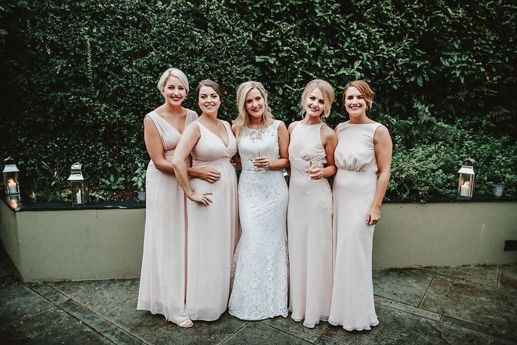 Bridesmaids in Blush Pink Maids to Measure Dresses | Bride in Lace Mikaella Bridal Gown | Blush, Rustic Luxe Wedding at Ever After, Dartmoor | Dan Ward Photography | CupcakeVideos