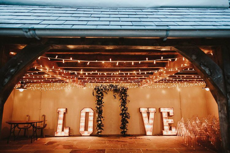 Fairy Lights | Floral Arch | Giant Light Up LOVE Letters | Blush, Rustic Luxe Wedding at Ever After, Dartmoor | Dan Ward Photography | CupcakeVideos