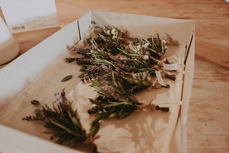 Wild Flower Buttonholes | English Country Garden Marquee Wedding at the Family Home on the Isle of Wight | Jason Mark Harris Photography