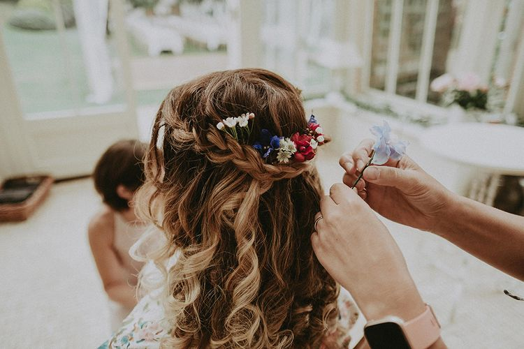 Half Up Half Down Bridal Hair with Fresh Flowers | English Country Garden Marquee Wedding at the Family Home on the Isle of Wight | Jason Mark Harris Photography