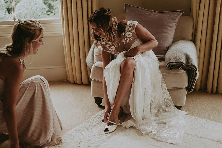Wedding Morning Bridal Preparations | Bride in Lace Rime Arodaky Wedding Dress | English Country Garden Marquee Wedding at the Family Home on the Isle of Wight | Jason Mark Harris Photography