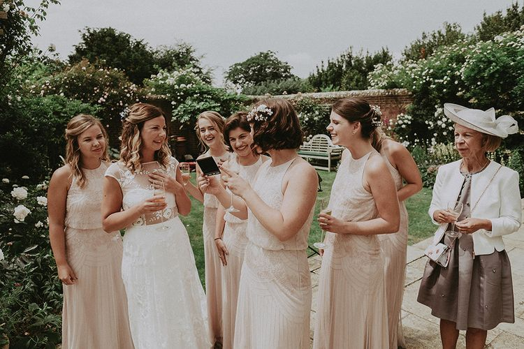 Wedding Morning Bridal Preparations | Bridesmaids in Pink Monsoon Dresses | Bride in Rime Arodaky Gown | English Country Garden Marquee Wedding at the Family Home on the Isle of Wight | Jason Mark Harris Photography