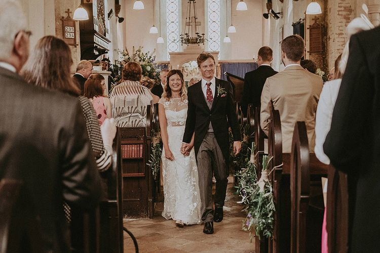 Church Wedding Ceremony | Bride in Lace Rime Arodaky Wedding Dress | Groom in Henry Herbert Tailors Suit | English Country Garden Marquee Wedding at the Family Home on the Isle of Wight | Jason Mark Harris Photography