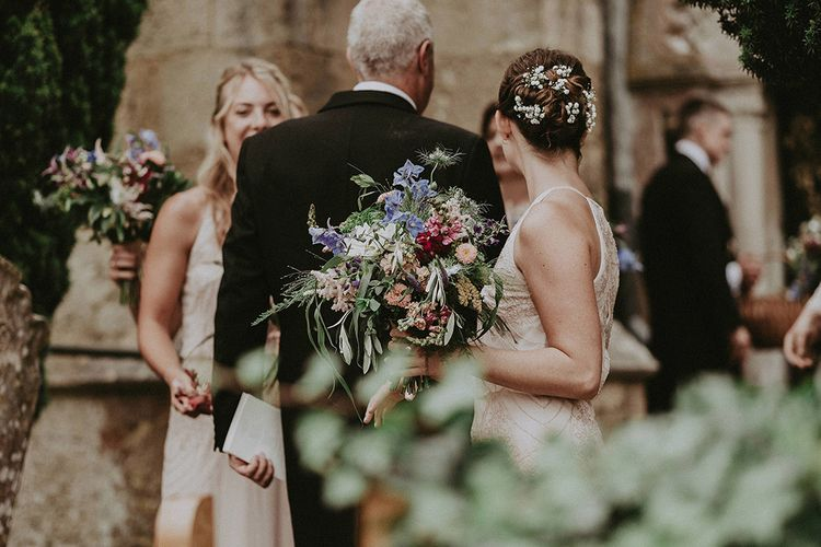 Colourful Wild Flower Bridesmaids Bouquet | English Country Garden Marquee Wedding at the Family Home on the Isle of Wight | Jason Mark Harris Photography