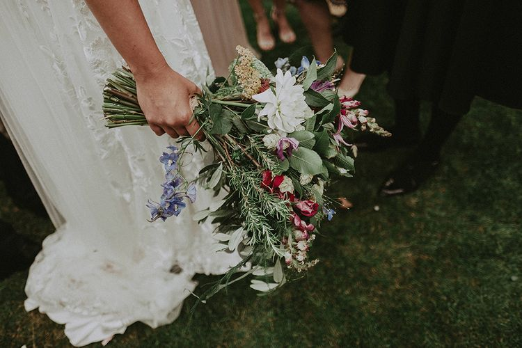 Wild Flower Bouquet | Bride in Lace Rime Arodaky Wedding Dress | English Country Garden Marquee Wedding at the Family Home on the Isle of Wight | Jason Mark Harris Photography