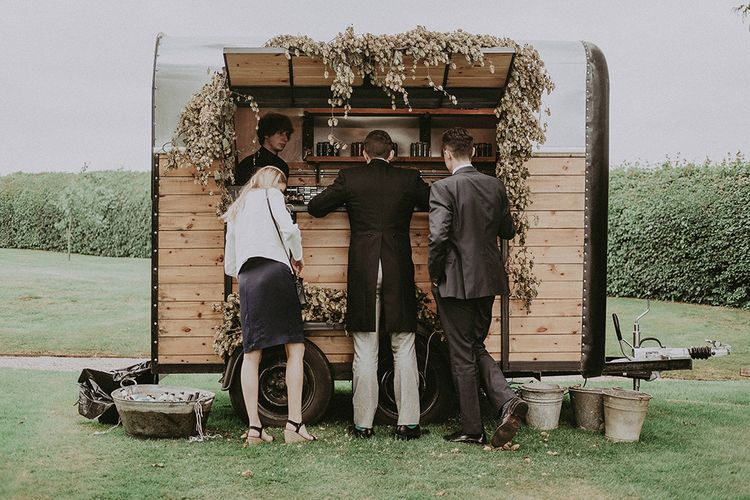 Horse Box Bar | English Country Garden Marquee Wedding at the Family Home on the Isle of Wight | Jason Mark Harris Photography