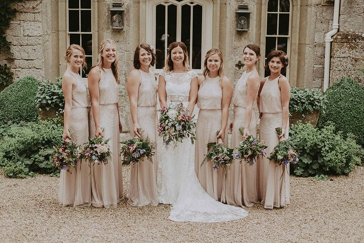 Bridal Party | Bridesmaids in Pink Monsoon Dresses | Bride in Lace Rime Arodaky Gown | English Country Garden Marquee Wedding at the Family Home on the Isle of Wight | Jason Mark Harris Photography