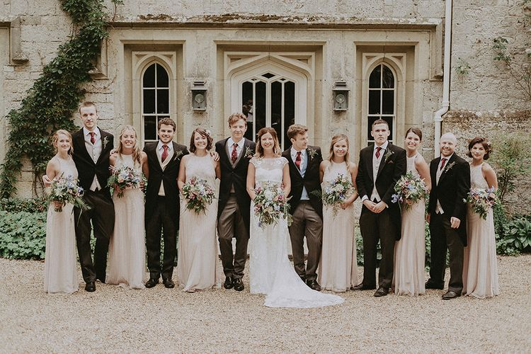 Wedding Party | Bridesmaids in Pink Monsoon Dresses | Bride in Lace Rime Arodaky Gown | Groomsmen in Henry Herbert Tailors Suits | English Country Garden Marquee Wedding at the Family Home on the Isle of Wight | Jason Mark Harris Photography