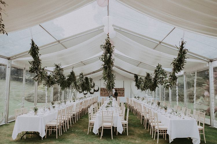 Hanging Foliage Wedding Decor | English Country Garden Marquee Wedding at the Family Home on the Isle of Wight | Jason Mark Harris Photography
