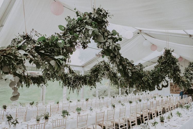Hanging Foliage Garland Wedding Decor | English Country Garden Marquee Wedding at the Family Home on the Isle of Wight | Jason Mark Harris Photography