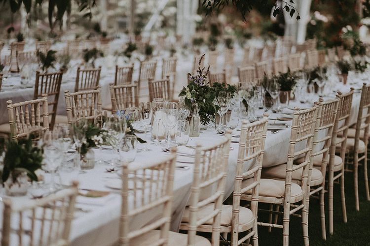 Foliage Floral Centrepieces | English Country Garden Marquee Wedding at the Family Home on the Isle of Wight | Jason Mark Harris Photography