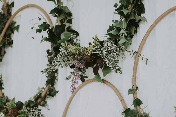 DIY Hoop Foliage Wedding Decor | English Country Garden Marquee Wedding at the Family Home on the Isle of Wight | Jason Mark Harris Photography