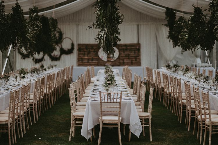 Foliage Garland Wedding Decor | English Country Garden Marquee Wedding at the Family Home on the Isle of Wight | Jason Mark Harris Photography