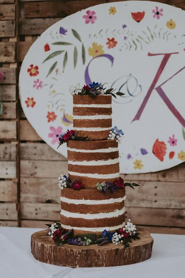 Homemade Naked Victoria Sponge Wedding Cake | English Country Garden Marquee Wedding at the Family Home on the Isle of Wight | Jason Mark Harris Photography