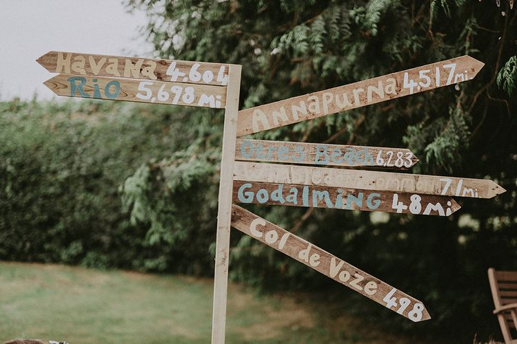 DIY Wooden Picket Sign Post | English Country Garden Marquee Wedding at the Family Home on the Isle of Wight | Jason Mark Harris Photography