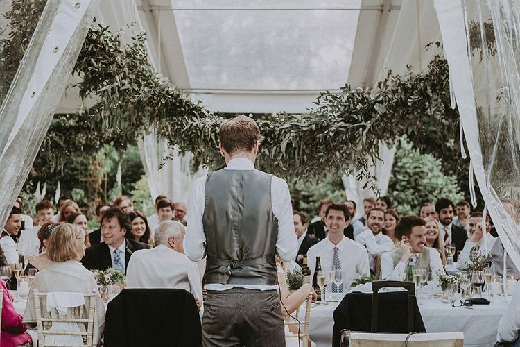 Wedding Reception Speeches | Groom in Henry Herbert Tailors Suit | English Country Garden Marquee Wedding at the Family Home on the Isle of Wight | Jason Mark Harris Photography