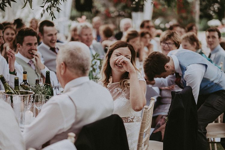 Wedding Reception Speeches | Bride in Rime Arodaky Gown | English Country Garden Marquee Wedding at the Family Home on the Isle of Wight | Jason Mark Harris Photography