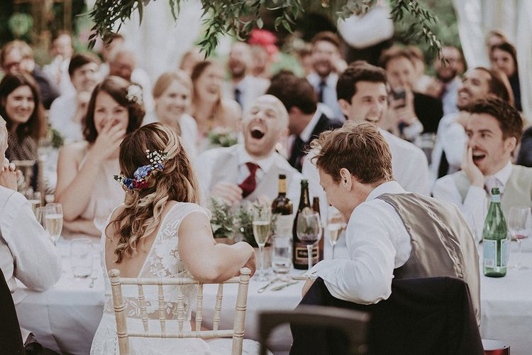 Wedding Reception Speeches | Bride in Rime Arodaky Gown | Groom in Henry Herbert Tailors Suit | English Country Garden Marquee Wedding at the Family Home on the Isle of Wight | Jason Mark Harris Photography