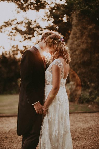 Golden Hour | Bride in Rime Arodaky Gown | Groom in Henry Herbert Tailors Suit | English Country Garden Marquee Wedding at the Family Home on the Isle of Wight | Jason Mark Harris Photography