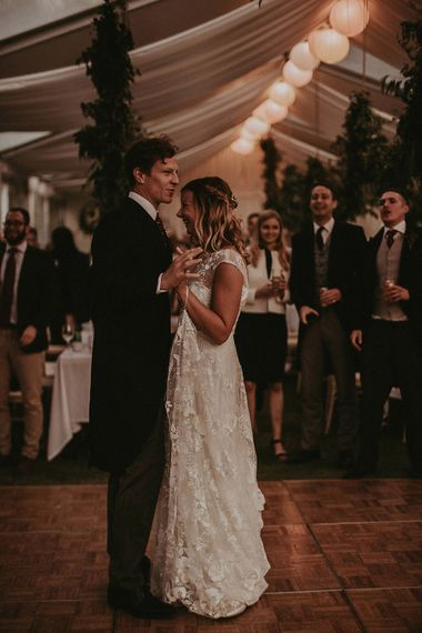 First Dance | Bride in Rime Arodaky Gown | Groom in Henry Herbert Tailors Suit | English Country Garden Marquee Wedding at the Family Home on the Isle of Wight | Jason Mark Harris Photography