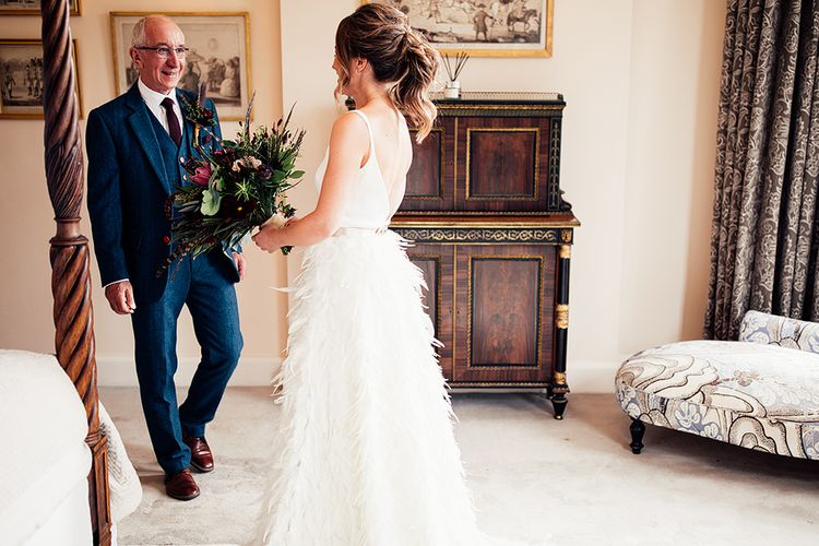Father of The Bride First Look with his Daughter in her  Charlie Brear Payton Bridal Gown & Piora Feather Skirt