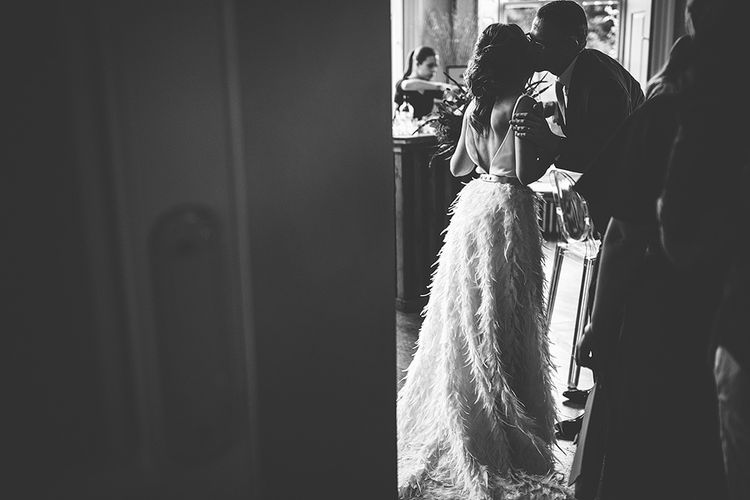 Black and White Portrait of Bride in Charlie Brear Payton Bridal Gown & Piora Feather Skirt
