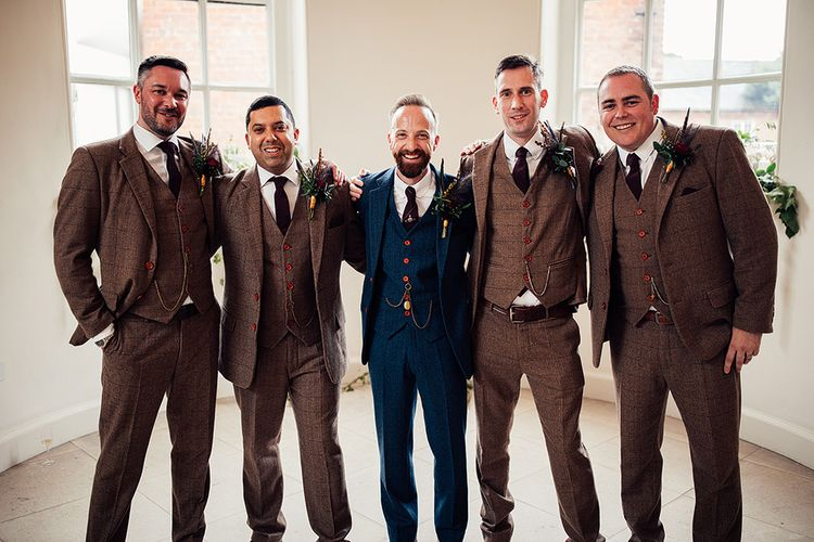 Groomsmen in Navy and Brown Check Wool Suits