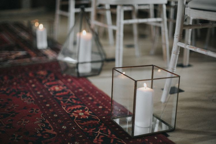 Aisle Candles Wedding Decor | Intimate Wedding at The Olde Bell Pub, Berkshire | Revival Rooms Floral Design, Decor & Styling | Grace Elizabeth Photo & Film