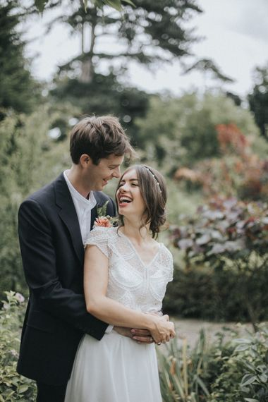 Bride in Embellished Suzanne Neville Separates via The Mews Boutique | Groom in Gieves and Hawkes Suit | Intimate Wedding at The Olde Bell Pub, Berkshire | Revival Rooms Floral Design, Decor & Styling | Grace Elizabeth Photo & Film