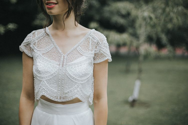 Bride in Embellished Suzanne Neville Separates via The Mews Boutique | Intimate Wedding at The Olde Bell Pub, Berkshire | Revival Rooms Floral Design, Decor & Styling | Grace Elizabeth Photo & Film